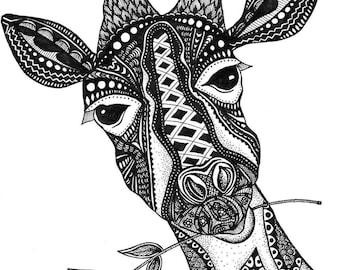Giraffe Zentangle Printed Vinyl Decal,  Vinyl Decal, Laptop Decal, Car Decal, Window Decal
