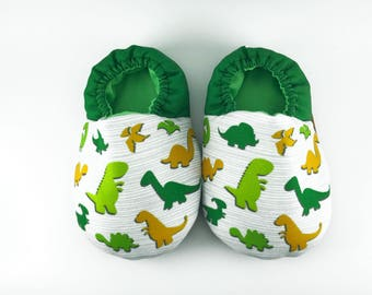 Dino soft soled baby shoes, Baby crib shoes, green baby shoes