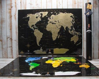 Scratchable Off World Map - World Map Poster Where You Can Mark 1  000 Cities And Places, large black scratch map, Vip scratch map