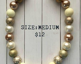 Fancy Ivory & Gold Bubblegum Necklace, bubblegum beads, princess, little girl jewelry, gift, ivory, gold, fancy