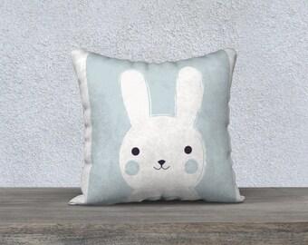 """LapinoB"" Blue Rabbit kids decorative cushion cover, baby room decoration."