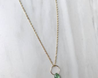 Green Kyanite Gold Necklace