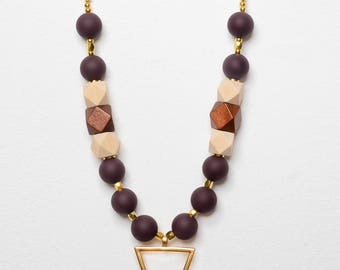 Designer Necklace, Polymer beads necklace, Wood necklace, geomatric necklace, Beaded jewelry, Nice gift ,Gold plated necklace