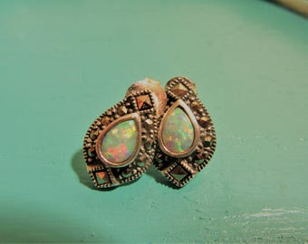 Vintage Marcasite and Faux Opal Stud Earrings set in 925 Sterling Silver
