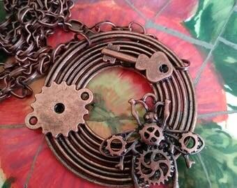 Antique copper Steampunk necklace