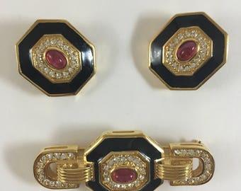 Christian Dior Brooch & Clip-on Earrings
