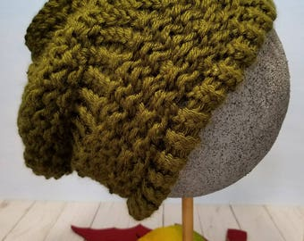 Hand Knit Hat or Slouchy Hat- Army Green