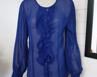 chiffon blouse, vintage chiffon blouse, retro chiffon blouse, 80's blouse, sheer blouse, vintage blue blouse, 80's vintage clothes