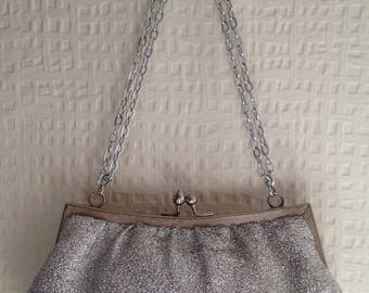 80's Silver acrylic snap-fastening purse with double silver chain