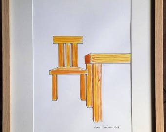 Watercolor chair with table already framed