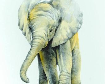 Elephant Watercolor Painting Safari Nursery Wall Art Decor Elephant Illustration Animal Lover Gift Wildlife Art Housewarming Gift