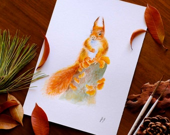 Squirrel Watercolor Painting Forest Nursery Decor Woodland Nursery Animal Art Original Watercolor Nature Lover Gift Squirrel Wall Art