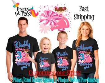 CHEERLEADER Birthday Girl Theme Family BLACK Shirts For the Entire Family Mom Dad Brother and More T-shirts Long/ Short sleeve Crown Team