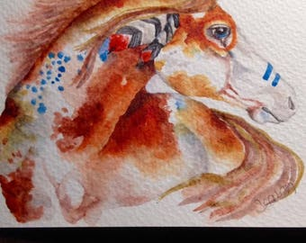 Hand Painted Watercolor Greeting Card....War Horse