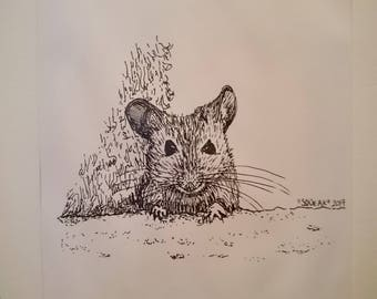 "Ink drawing print ""Squeak"""