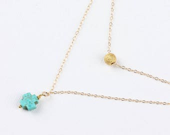 Double Strand Cross necklace - Layered Turquoise Necklace - Turquoise Cross Pendant - Turquoise Cross Silver - Dainty Cross Necklace- 0069BN