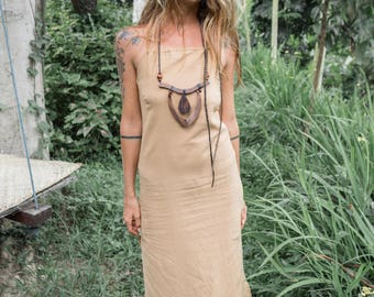 Tanglewood dress- size 8-12 Organic cotton, free spirit adjustable elegant eco-conscious evening raw natural gypsy bomemian backless goddess
