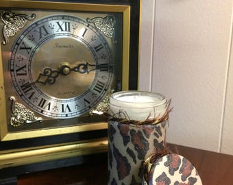 Leopard print Decoupage Soy Wax Candle with low smoke wick.  8cm tall.