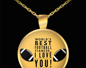 WORLD'S BEST Football Fiancee! Gold Plated Necklace