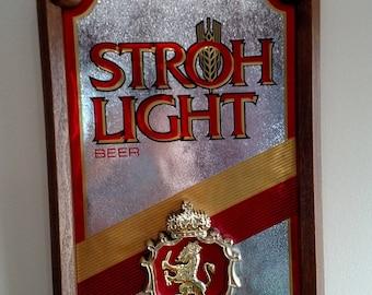 Vintage Stroh Light Beer hanging sign