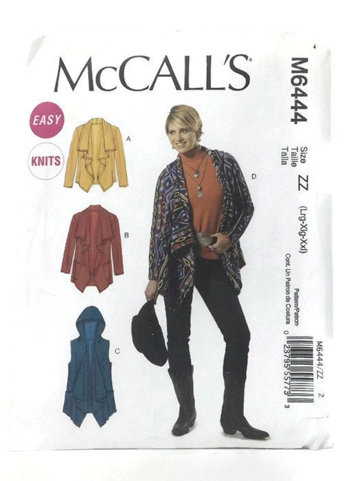 Mccalls Knit Jacket Pattern 6444 Vest Pattern Uncut Sewing Pattern