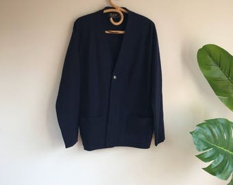 Vintage Navy Bue Men's Wool Cardigan Sweater Size XL