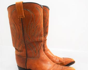 Vintage Original Dan Post Tan Leather Women's Cowboy / Cowgirl Boots size 6 1/2 Made in Spain