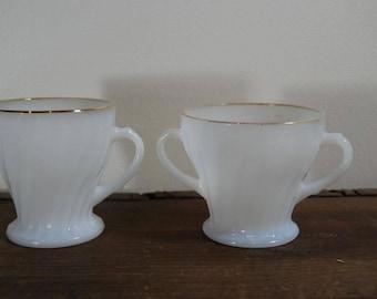 Anchor Hocking Cream and Sugar Set; White Swirl Milk Glass with Gold Trim