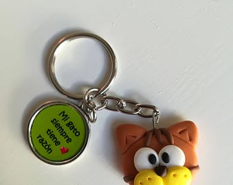 "Keychain ""My cat is always right""-Orange and brown"