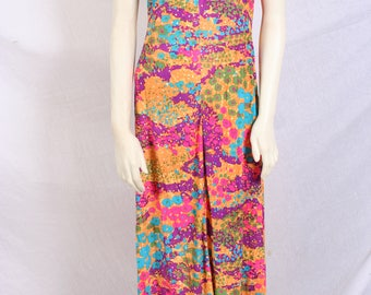 vintage 60s psychedelic FLORAL MAXI DRESS, hostess gown, polyester dress, union