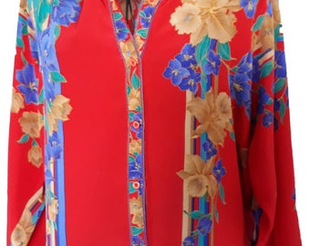 Vintage 1970s Red Tropical Floral Shirt /70s Does 50s/Medium