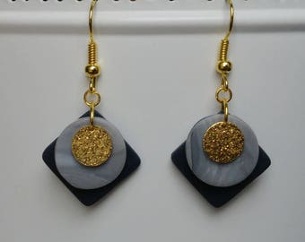 Navy Blue polymer clay, faux marble and gold charm earrings