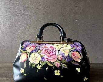 Professional Medical Bag, handpainted, one-of-a-kind-design, dainty floral, pink, Charles & Keith by Nanette Nacorda Catigbe