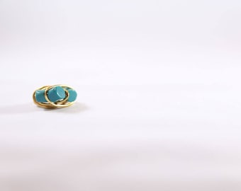 Gold and Turquoise Wire Wrapped Ring