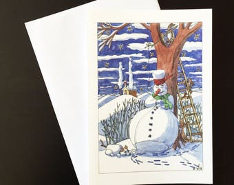 "Snowman with Snow dog-Christmas card ""snowmen, hares and carrot noses"""