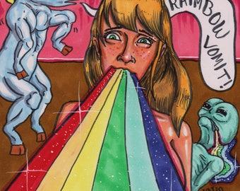 Raimbow Vomit! (2017) Original Artwork - Pen & Ink + Markers