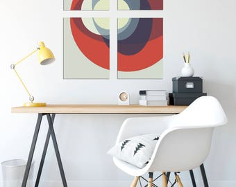 Circle Polytich 1 - Abstract, Collage, Color, 12x16, Set, Mid Century Modern, Geometric, Clean Design, Wall Art, Digital Download, Printable