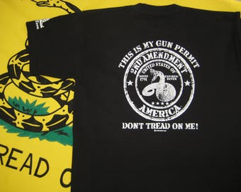 This Is My Gun Permit, Don't Tread on Me | patriotic | 2nd Amendment | screen printed | rattlesnake | America | gun | tshirt | tee