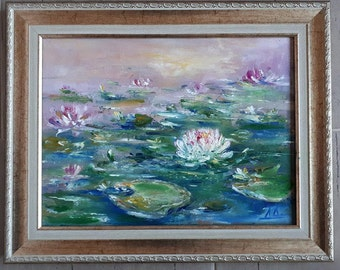 Oil Painting: White Water Lily