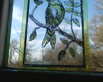 Stained Glass Bird Centre Pane / fragment /  - Traditional hand painted, Kiln fired centre part for panel / window. Vintage  style