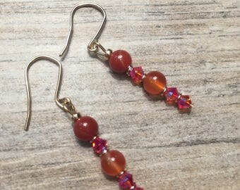 14k gold filled earrings with amber dyed agate gemstone and Swarovski fire opal crystals
