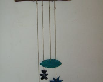 Wall hanging for nursery pottery customizable blue clay on a branch