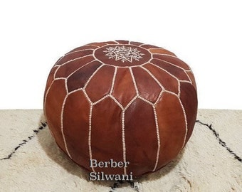 Chestnut Brown Moroccan Leather Pouf, Moroccan Pouf Ottoman Footstool Poof Poufs