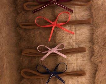 Set of 4, Bow Nylon Headbands, Baby Headbands, One Size, Polka dot