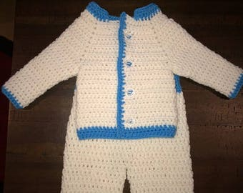 Baby boy blue and white set 3-6 months