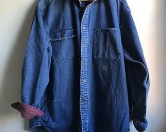 90s Tommy Hilfiger Denim Shirt - L