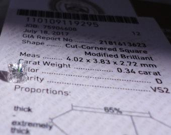 0.34 GIA Certified D VS2 True Radiant Cut - NOT PRINCESS! Loose Natural Diamond