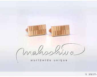 wooden cuff links wood cherry maple handmade unique exclusive limited jewelry - mahoshiva k 2017-111