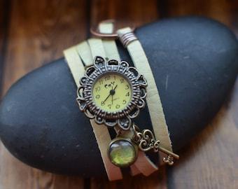 Leather Bracelet Watch, Charm Watch, Womens Watch, Cream Leather Watch, Ladies Watch, Girls Watch, Wrap Watch, Birthday Gift, Boho Jewellery