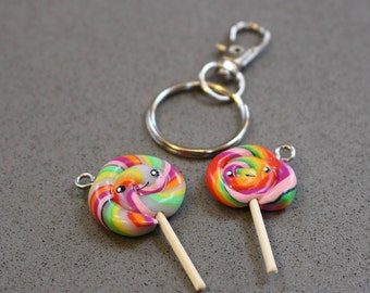 Handmade, polymer clay lollipop charm, kawaii, fashion charms